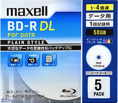 データ用BD-R DL 50GB 「PLAIN STYLE」インクジェットプリンター対応「ひろびろ超美白レーベル」 (5枚パック)BR50PPLWPB.5S