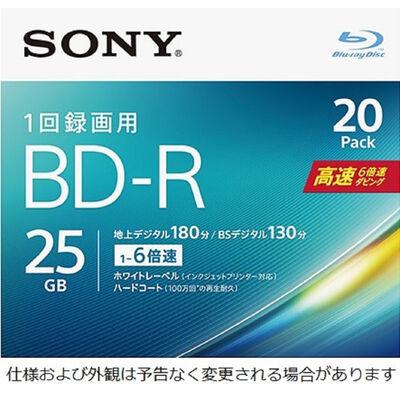 ビデオ用BD-R 追記型 片面1層25GB 6倍速 ホワイトワイドプリンタブル 20枚パック 20BNR1VJPS6
