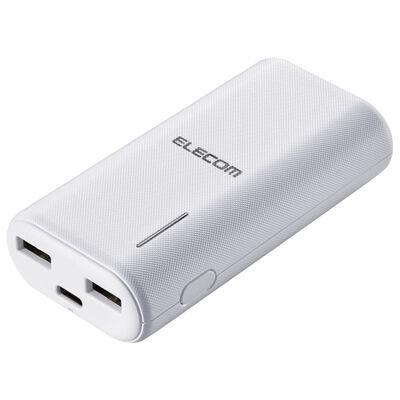 モバイルバッテリー/リチウムイオン/おまかせ充電/6700mAh/計2.6A/USB A-Cケーブル付属/Type-C入力/ホワイト DE-C23L-6700WH