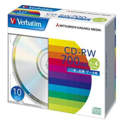 CD-RW 700MB PCデータ用 4倍速対応 10枚スリムケース入り シルバーディスク SW80QU10V1