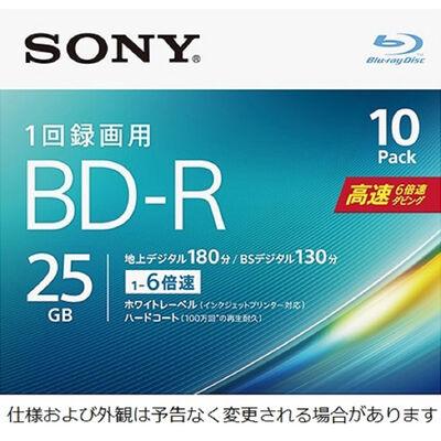 ビデオ用BD-R 追記型 片面1層25GB 6倍速 ホワイトワイドプリンタブル 10枚パック 10BNR1VJPS6