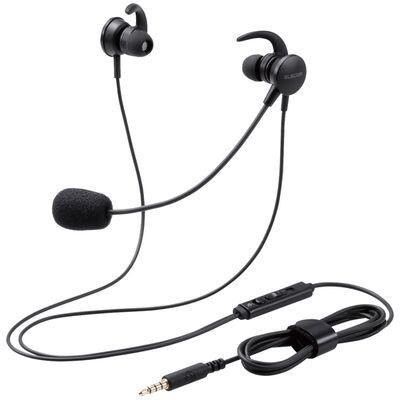 マイクアーム付インナーイヤー型ヘッドセット/両耳/4極/変換ケーブル付/ブラック HS-EP15TBK