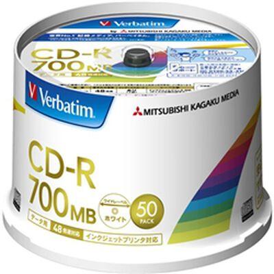 CD-R 700MB PCデータ用 48倍速対応 50枚スピンドルケース 印刷可能ホワイトレーベル SR80FP50V2