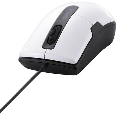 有線BlueLEDマウス 静音/3ボタン Mサイズ ホワイト BSMBU26SMWH