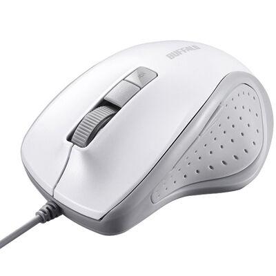 有線BlueLED光学式マウス 静音/5ボタン/DPI切り替えボタン ホワイト BSMBU300WH