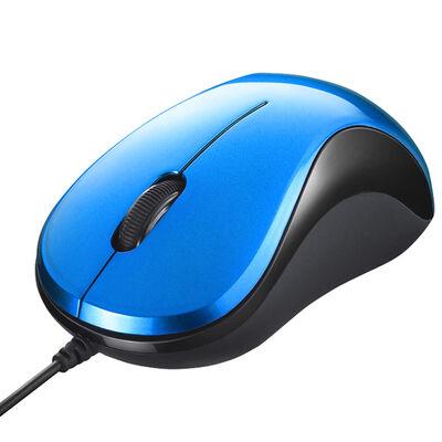 有線 BlueLED光学式マウス 静音/3ボタン ブルー BSMBU100BL