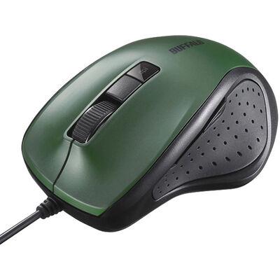 有線BlueLED光学式マウス 静音/5ボタン/DPI切り替えボタン グリーン BSMBU300GR