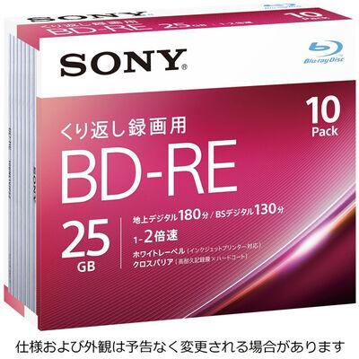 ビデオ用BD-RE 書換型 片面1層25GB 2倍速 ホワイトワイドプリンタブル 10枚パック 10BNE1VJPS2