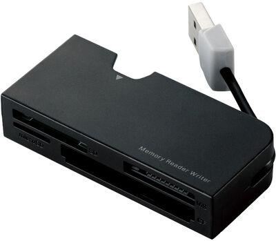 メモリリーダライタ/ケーブル収納/SD+MS+CF対応/ブラック MR-K013BK