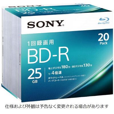 ビデオ用BD-R 追記型 片面1層25GB 4倍速 ホワイトワイドプリンタブル 20枚パック 20BNR1VJPS4