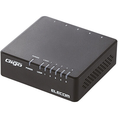 Giga対応スイッチングHub/5ポート/プラスチック筐体/電源外付モデル/ブラック EHC-G05PA-B-K