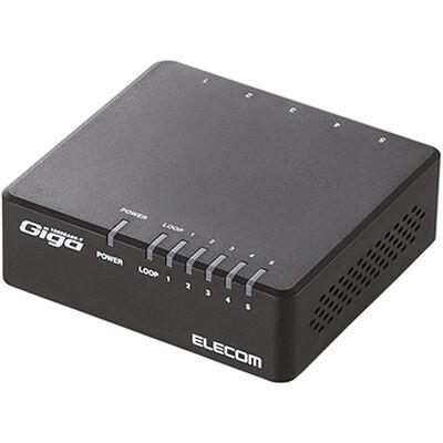 Giga対応スイッチングHub/5ポート/プラスチック筐体/磁石付き/電源外付/ブラック EHC-G05PA-JB-K