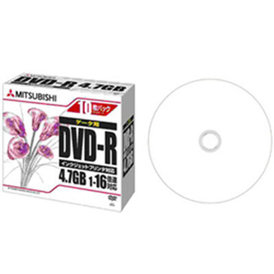DVD-R 4.7GB PCデータ用 16倍速対応 1枚ずつ5mmケース(透明)10P ワイド印刷可能 DHR47JPP10