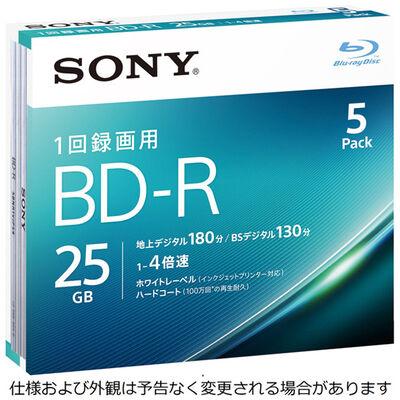 ビデオ用BD-R 追記型 片面1層25GB 4倍速 ホワイトワイドプリンタブル 5枚パック 5BNR1VJPS4