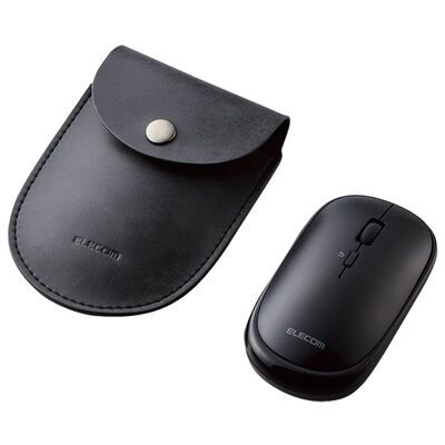 BlueLEDマウス/薄型/Bluetooth対応/4ボタン/ポーチ付/ブラック M-TM10BBBK