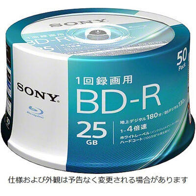 ビデオ用BD-R 追記型 片面1層25GB 4倍速 ホワイトワイドプリンタブル 50枚スピンドル 50BNR1VJPP4