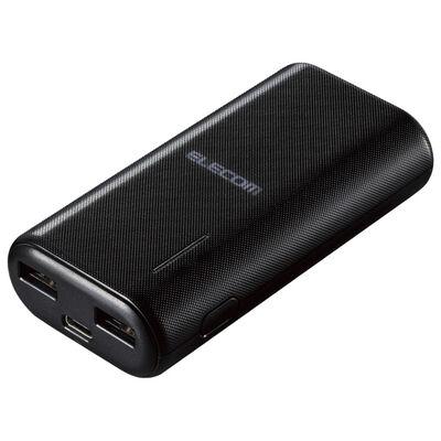 モバイルバッテリー/リチウムイオン/おまかせ充電/6700mAh/計2.6A/USB A-Cケーブル付属/Type-C入力/ブラック DE-C23L-6700BK