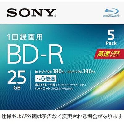 ビデオ用BD-R 追記型 片面1層25GB 6倍速 ホワイトワイドプリンタブル 5枚パック 5BNR1VJPS6