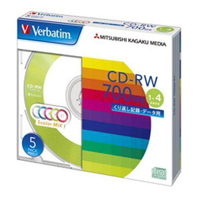 CD-RW 700MB PCデータ用 4倍速 5枚スリムケース入り カラーミックス