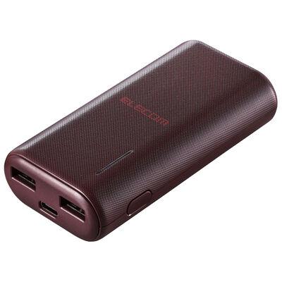 モバイルバッテリー/リチウムイオン/おまかせ充電/6700mAh/計2.6A/USB A-Cケーブル付属/Type-C入力/レッド DE-C23L-6700RD