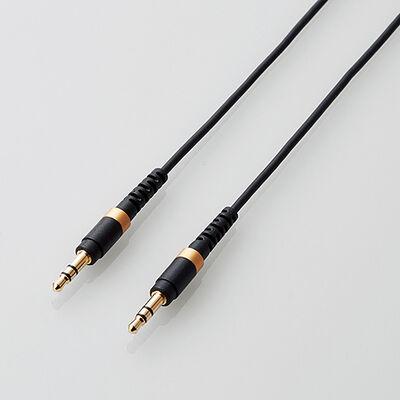 AUXケーブル/φ3.5オス-φ3.5オス/高耐久/スリム/0.5m/ブラック AX-35MS05BK
