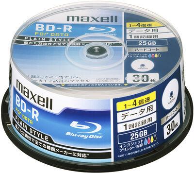 データ用BD-R 25GB 「PLAIN STYLE」インクジェットプリンター対応 (30枚スピンドル)BR25PPLWPB.30SP