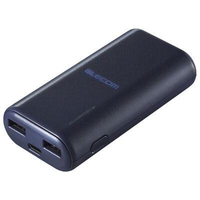 モバイルバッテリー/リチウムイオン/おまかせ充電/6700mAh/計2.6A/USB A-Cケーブル付属/Type-C入力/ブルー DE-C23L-6700BU