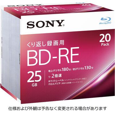 ビデオ用BD-RE 書換型 片面1層25GB 2倍速 ホワイトワイドプリンタブル 20枚パック 20BNE1VJPS2