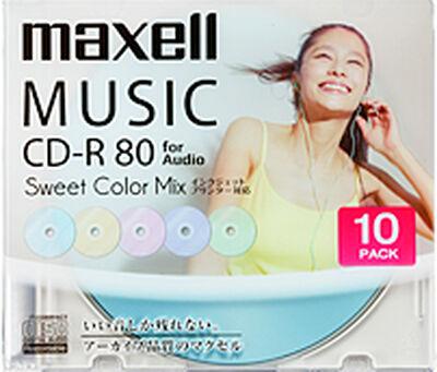 音楽用CD-R「Sweet Color Mix Series」 80分 (10枚パック)CDRA80PSM.10S