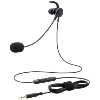 マイクアーム付インナーイヤー型ヘッドセット/片耳/4極/変換ケーブル付/ブラック HS-EP16TBK