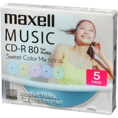 音楽用CD-R「Sweet Color Mix Series」 80分 (5枚パック)CDRA80PSM.5S