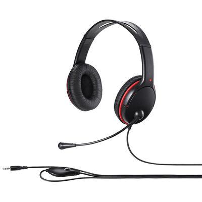 両耳ヘッドバンド式ステレオヘッドセット 4極ミニプラグ接続 ブラック BSHSHCS300BK