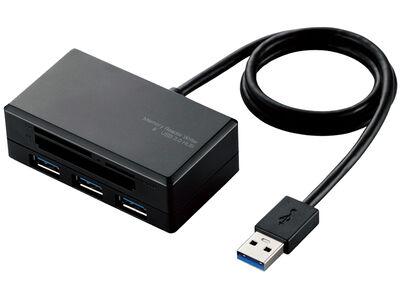 メモリリーダライタ/SD+MS+CF+XD/USB3.0ハブ付/ブラック MR3-H009BK