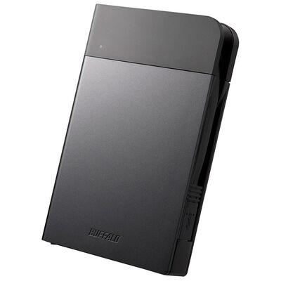 ICカード対応MILスペック 耐衝撃ボディー防雨防塵ポータブルHDD 2TB ブラック HD-PZN2.0U3-B