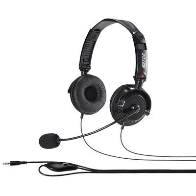 両耳ヘッドバンド式ステレオヘッドセット 4極ミニプラグ接続/折りたたみタイプ ブラック BSHSHCS310BK