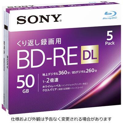 ビデオ用BD-RE 書換型 片面2層50GB 2倍速 ホワイトワイドプリンタブル 5枚パック 5BNE2VJPS2