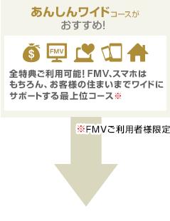 あんしんワイドコースがおすすめ!全特典ご利用可能!FMV、スマホはもちろん、お客様の住まいまでワイドにサポートする最上位コース。※FMVご利用者様限定