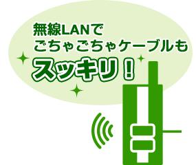 無線LANでごちゃごちゃケーブルもスッキリ!