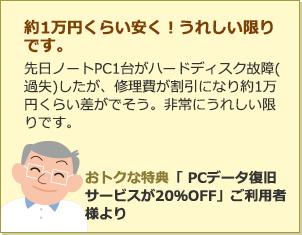 約1万円くらい安く!うれしい限りです。先日ノートPC1台がハードディスク故障(過失)したが、修理費が割引になり約1万円くらい差がでそう。非常にうれしい限りです。